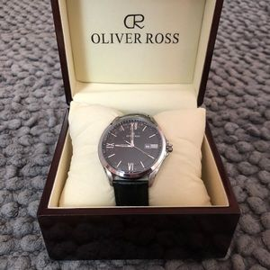 Authentic Oliver Ross Silver Black Leather Watch